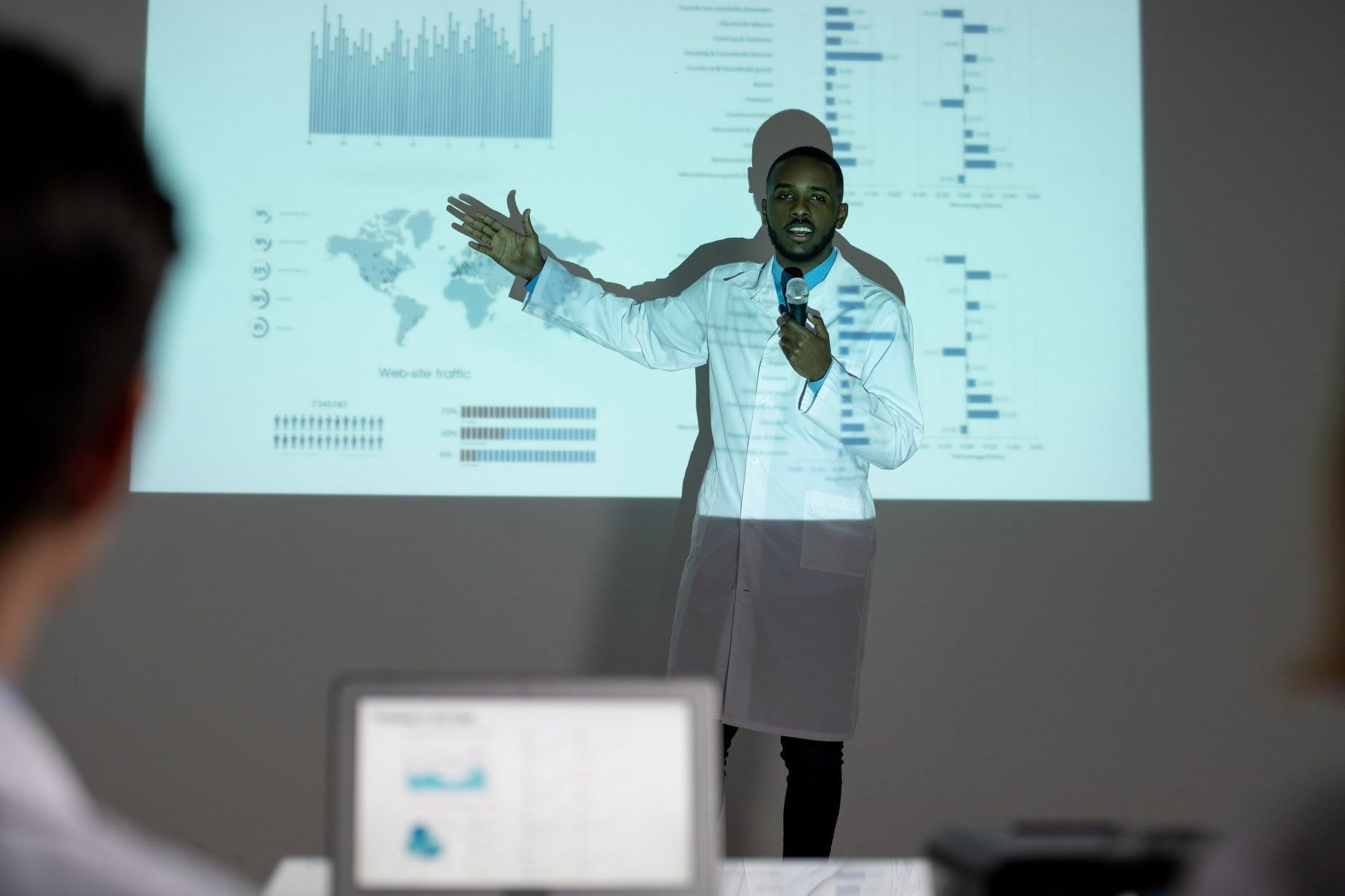 Showing statistics on spread of coronavirus