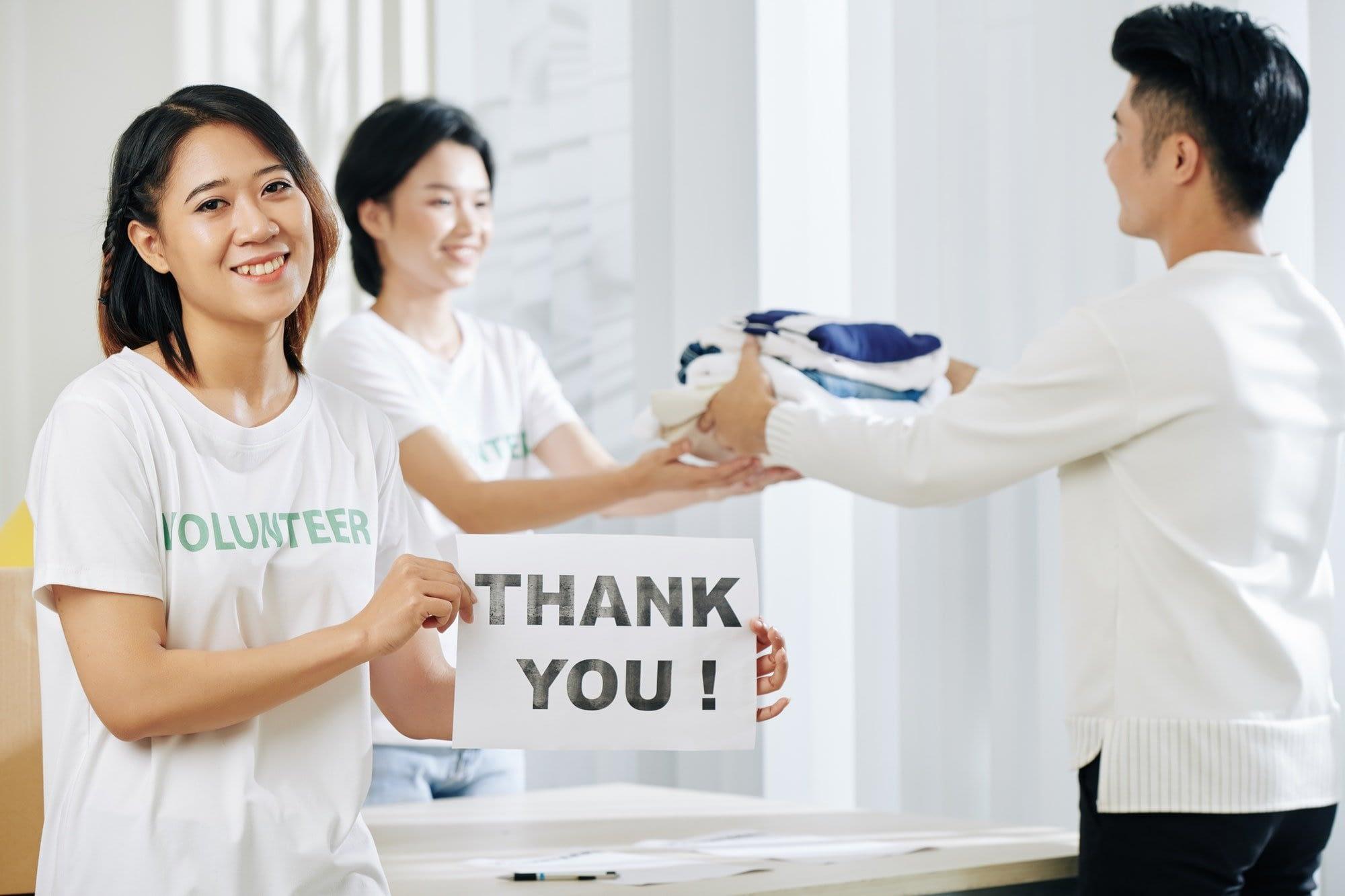 Volunteer working at donation center